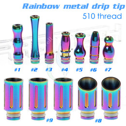 2014 Most beautiful rainbow drip tip stainless steel 510 thread for rebuildable ecig mods atomierRBA RDA Quasar Aqua Patriot omega