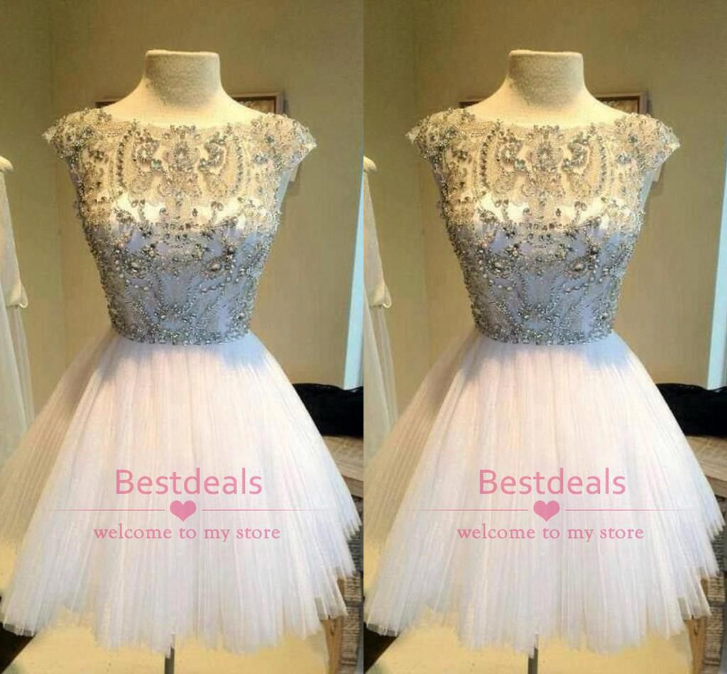 Buy 2015 Blingbling Short Prom Dresses Bateau Cap Sleeves Beading Crystal Line Tulle Homecoming Gowns Cocktail Custom made BO6443