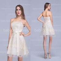 Wholesale 2014 Beach Wedding Dresses Sexy Strapless Lace Tulle Short Mini Bridal Gowns With Bow Sash Back Lace Up BZP0379 Cheap In Stock