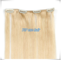 Wholesale sell human hair clip in hair extensions nature black color b inch g per piece packs per