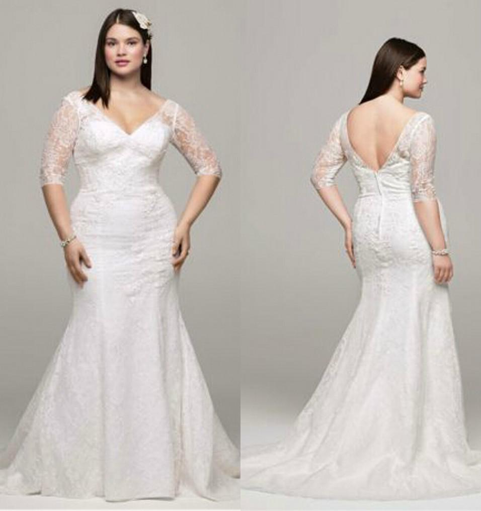 2017 Plus Size Sexy Lace V Neck Wedding Dresses Mermaid With 3/4 ...