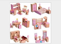 Wholesale 1set Hot Sale Children Gift Kids Wooden Toy Furniture Doll House Set Kitchen Dinning Room