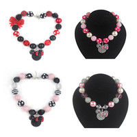 chunky necklace for kids - 2pcs New arrival Chunky Bubblegum Rhinestone Beads With Minnie Head Pendant Necklace for Girls Kids
