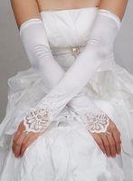 Wholesale 2014 Fashion Style Satin Fingerless Long Applique Lace Beaded White Ivory Red Black Bridal Gloves Wedding Dresses Glove