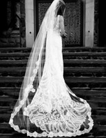 Cheap Wholesale - High Quality New Free Shipping White Ivory Wedding Bridal Veils Car Bone Lace Edge 4.5m Long Veil without Comb