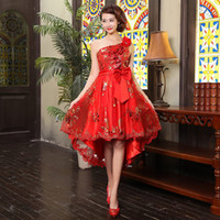 Wholesale 2014 new Hot Sexy Sequin Hi Lo Lace Up Red Party Dress Women High Quality New Fashion Slim Bridesmaid Clothing Wedding Plus Size Dropship