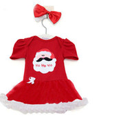 Wholesale samgamibabay girls Christmas outfits childrens Santa long sleeve dresses headwear kids summer party clothes K7706 gmy