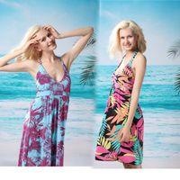 Wholesale Sexy Women Lady Deep V Swimwear Dress Beach Wear Swimsuit Bikini Halter Dress