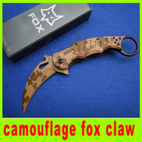 Wholesale High quality camouflage fox claw karambit folding tactical knife camping hunitng knife pocket hiking survival knives Christmas gift H