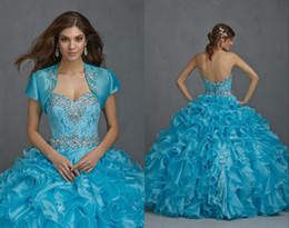 Wholesale 2015 Flower Quinceanera Dresses Ball Gown Floor Length Sweet Years Girls Cheap Blue Color Custom Made Birthday Party Dress With Jacket