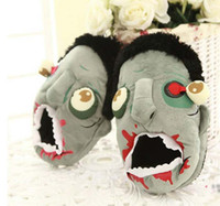 Wholesale 11 inch Cute Funny Zombies Slippers Cartoon Plush Home Slippers Creative Big Cotton Shoes