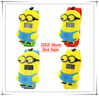Wholesale mix color D Eye Despicable Me minion Precious Milk Dad Children Watch Slap Snap On Silicone Digital Watch Drop Shipping