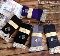 Wholesale autumn spring girls knitting socks with lace hem lady knee stockings half stockings Crochet Lace Trim Knit Leg Warmer Boot Socks for woman