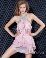 Cheap Cheap On Sale Sexy Attractive Pink Short Backless Homecoming Dresses Halter Sleeveless Crystal Tiered Special Occasion Cocktail Gowns WW1101