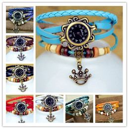 Wholesale Charms Watches Bracelet Women Watches Fashion Leather Quartz Wrist Watches Goddess Crown Round Dial Drop