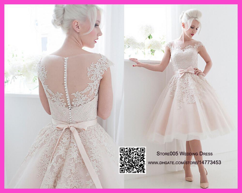 Cute Short Blush Pink Wedding Dresses 2015 Puffy Lace Bridal Dress China Sash Ball Gown Bow
