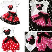 Girl Summer Short 2014 Summer New Children Girl's 2PC Sets Skirt Suit Minnie Mouse Clothing sets dots skirt dots pants cartoon clothes LZ-T0224