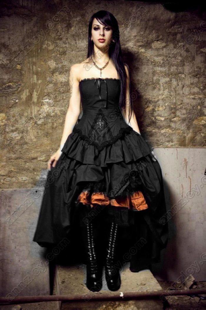 Vintage vampire cross corset black gothic wedding dresses for Vintage gothic wedding dresses