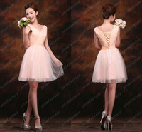 Corset and Tulle Peach Bridesmaid Dresses Cheap Under 80$ Fr...