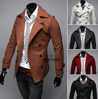 Cheap 2014 Fashion New men Trench Coats Korean Slim fit lapels Double breasted casual wool blend trench Coat men's clothing for winter