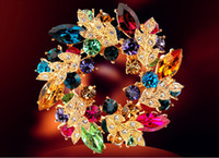 Wholesale Wedding gemstone brooch rhinestone crystal gold alloy bouquet brooches pins Christmas pins clips dress scarf tie pin women charm jewelry hot