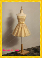 Corset and Tulle Short Gold Bridesmaid Dresses Cheap Under 1...