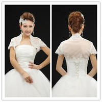Wholesale 2014 Best Selling Chiffon Appliques Beaded Short Sleeve Wraps Capped Shrug Shawl Bridal Wraps Jackets Wedding Events Bridal Accessories