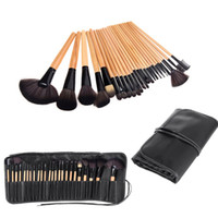 cheap makeup - NEW Wood Cheap Good Quality Makeup Brushes Kit Professional Cosmetic Make Up Set Makeup Brush Kits Pouch Bag Case Black