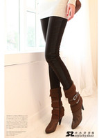 Cheap Winter sides stitching leather leggings leather pants plus velvet thick warm pants wholesale leather pants big yards