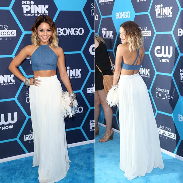 2014 Vanessa Hudgens Halter Two Pieces Blue Top And Ivory Chiffon ...