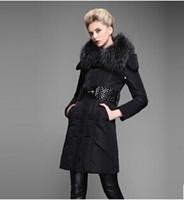 2014Winter New Black Large fur collar Woman Long Down coat F...