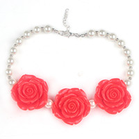 Wholesale 2pcs New Arrival Color Style Chunky Bubblegum Beads with Three Rose Pendant Necklace for Girls Kids