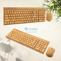 Wholesale Newest Fashion Bamboo Wooden PC computer keyboard Wireless Keyboard and Mouse keys Compact Version B6