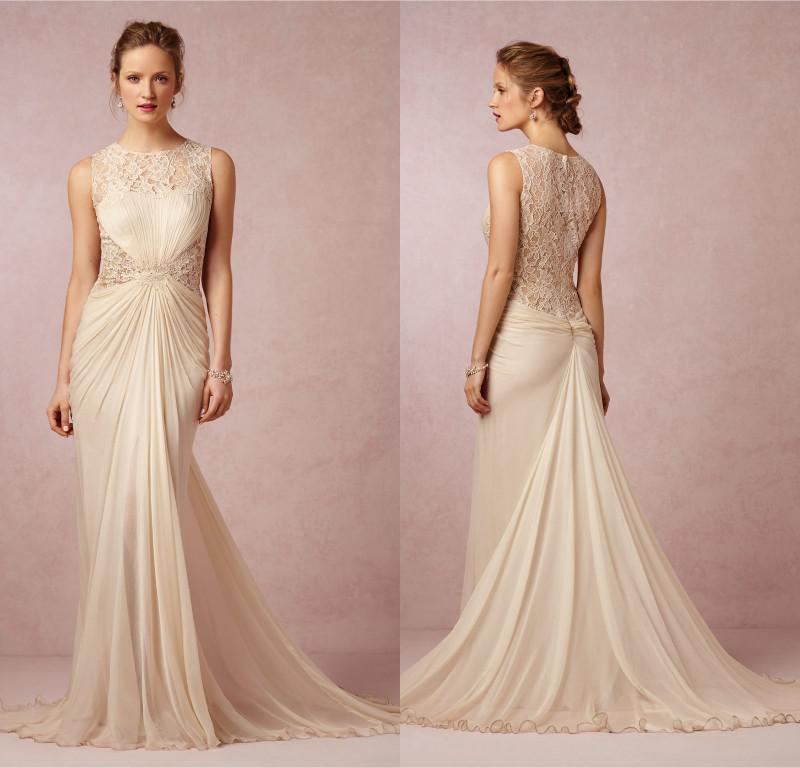 Summer 2017 vintage wedding dresses lace corset champagne for Lace sheath wedding dress vintage