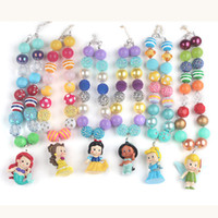 Wholesale 6pcs set New Arrival Hot Sale Chunky Bubblegum Beads with People in Fairy Tales Pendant Necklace for Girls Kids
