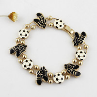 Cheap 2014 World Cup Hot Design Gold Color Zinc Alloy White and Black Rhinestone Ball Shoes Shape Bracelet for Women