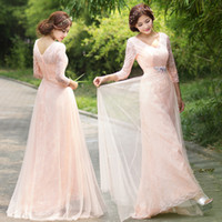 Cheap Model Pictures Sheer V Neck 3 4 Long Sleeve Evening Dresses Formal Gown Lady's Dress with Sash Floor Length A Line Prom Gown LPBNX E820
