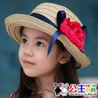 Cheap fashion 2013 bucket hat cute girl striped big brim fisherman hat lovely children summer beach hat caps