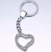 Wholesale 20pcs Rhinestones Heart Glass Memory Floating charm lockets DIY Personalized fashion Key Chain