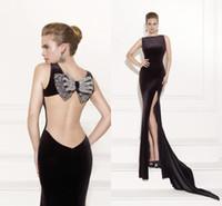 Cheap SSJ 2015 Tarik Ediz Prom Dresses Backless Black Slit Mermaid Sleeveless Long Formal Evening Gowns babybride D2045