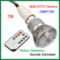 Wholesale 2014 New H T8 Light Bulb CCTV Mini Spy Camera IR Night Vision Voice Activated Motion Detection Hidden Lamp Spy Camera Real Lamp
