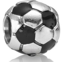 Wholesale Sterling Silver Football Shape With Crystal Beads of The European Fashion Charm Bracelets Snake Chain Jewelry