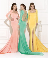 Cheap 2015 Yellow Jersey Prom Dress Square Neck Long Sleeve Jewerly Backless Mermaid Side Split Sweep Train Evening Gowns Tarik Ediz 90469