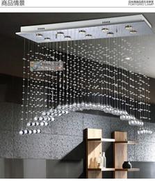 Wholesale 10 Lights L39 quot X W12 quot X H31 quot Arched Clear Crystal Chandelier Pendant Lamp Rain Drop Design Flush Mount LED Ceiling Lighting