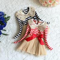 Wholesale 2014 Hot New Autumn girls dresses girls lace dress baby clothes kids Long Sleeve Baby Doll Collar Dress girls stripe dress design for kids