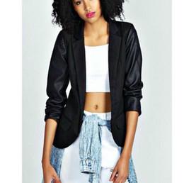 Wholesale CT645 New Fashion Ladies Pu leather sleeve Patchwork long sleeve coat Casual Blazer black slim OL coat Brand designer tops