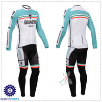 Wholesale 2014 Bianchi Green Cycling Jerseys Long Sleeve Bicycle Wear Winter Thermal Fleece Bike Wear Bib Pants Ultra Breathable Bike Shirts