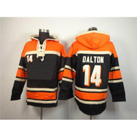 Football Men Full Bengal #14 Andy Dalton Orange Pullover Hoodie High Quality Embroidered American Football Hooded Sweatshirts Mens Cheap Jerseys for Christmas