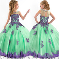Wholesale New Arrival Little Girls Pageant Dress Purple and Green Ball Gown Beads Lace Applique Floor Length Flower Girls Dress EM03005