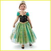 Cheap Frozen Elsa Anna Girl's Costume dresses tulle Short sleeve baby girl dress princess girls party dress children kids girl ball gown via dhl